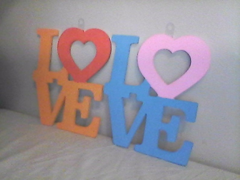 Arrow Father Arrow Through the Heart with LOVE Sign Red Set of Four Wooden Wall Plaques Pink and Blue. Orange Arrow Dad