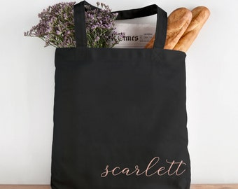Personalised Custom Name Lips Midi Size Jute Shopping Tote Bag Gift Shopper