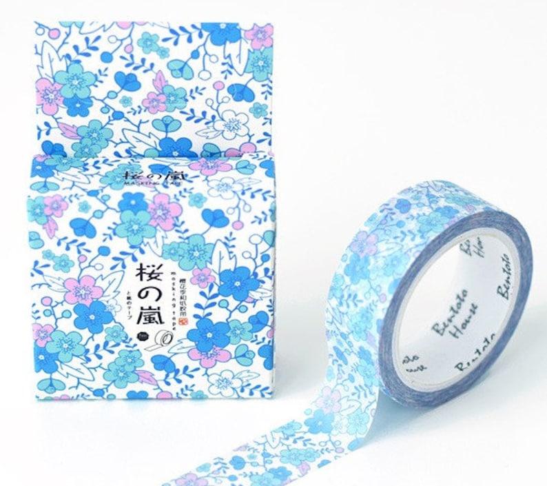 Washi tape Blue flora Washi Tape,bullet journal,scrapbook,diary tape