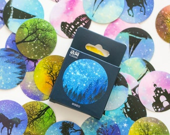 50pcs Aesthetic Galaxy stickers pack for Journaling,Planner,bullet journal,Diary Stickers, Galaxy stickers