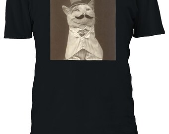 e3c66159f29fc Moustache Cat Kitten Funny Hat Tshirt Men Women Unisex Oversized 3XL 4XL  5XL T-Shirt 1672