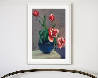 famille rose porcelain vase and tulips,Tulips in vase,Framed Prints,wall art prints,Hanging Canvas print,large wall art,f2969 Pan Yuliang