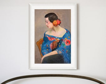 f2964 a woman with flower and fan,Women/'s portrait printing,Framed Prints,wall art prints,Hanging Canvas print,large wall art Pan Yuliang