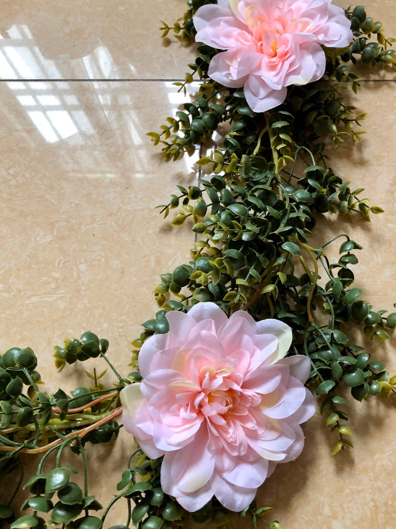 Artificial Eucalyptus Garland with Blush Dahlia Flowers Greenery Garland Eucalyptus Leaves Wedding Backdrop Wall Decor