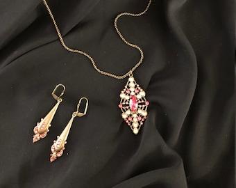4d6950af2 Vintage Anne Koplik Necklace and Earring Set