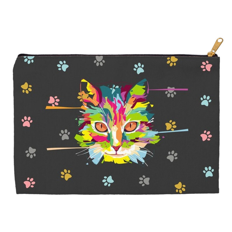 Perfect gift for a cat lover. Accessory Pouches With Colorful Cat Image