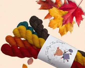 Autumn Palette, Hand dyed minis, soft, tonal, Fall, 75/25 wool and nylon, fingering weight yarn