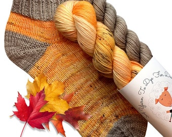 Hand dyed yarn, Sock Set, Fall colors, 'Perfectly Spiced Pumpkin', 50 grams and matching 20 gram mini, fingering weight