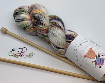Hand Dyed Yarn, Halloween, 'Witches Gone Wild', DK, Worsted, MCN, fingering weight, 6 bases available