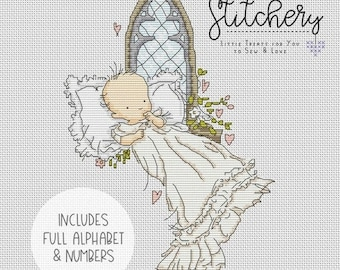 Lili of the Valley - Baby Christening / Baptism - Downloadable Cross Stitch Chart - PDF Pattern, Digital, Counted Cross Stitch