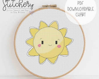 Sunshine - Downloadable Cross Stitch Chart - PDF Pattern, Digital, Counted Cross Stitch
