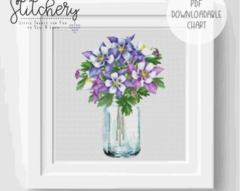 Watercolour Flowers - Columbine (Aquilegia) Downloadable Cross Stitch Chart - PDF Pattern, Digital, Counted Cross Stitch