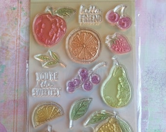 Momenta Fruit Clear Cling  14 Piece Stamp Set