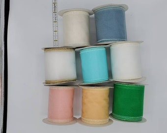 2.5 Satin Ribbon Lot 30 rolls of new and partial used ribbons with and without wire