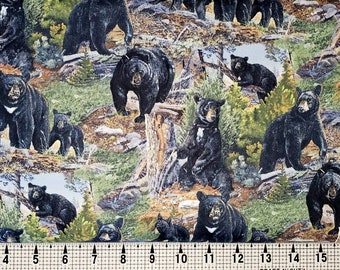 965 Mama Bear and Cubs Fabric By the Yard; Fat Quarters to Full Yards; Black Bears; Tender Moments