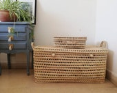 Woven chest 80 cm (31.4 inches) little suitcase made of palm leaf and reed woven storage basket, toy box, big trunk, bedroom decor