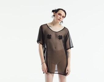d34d33fb Oversized Mesh T-Shirt Dress