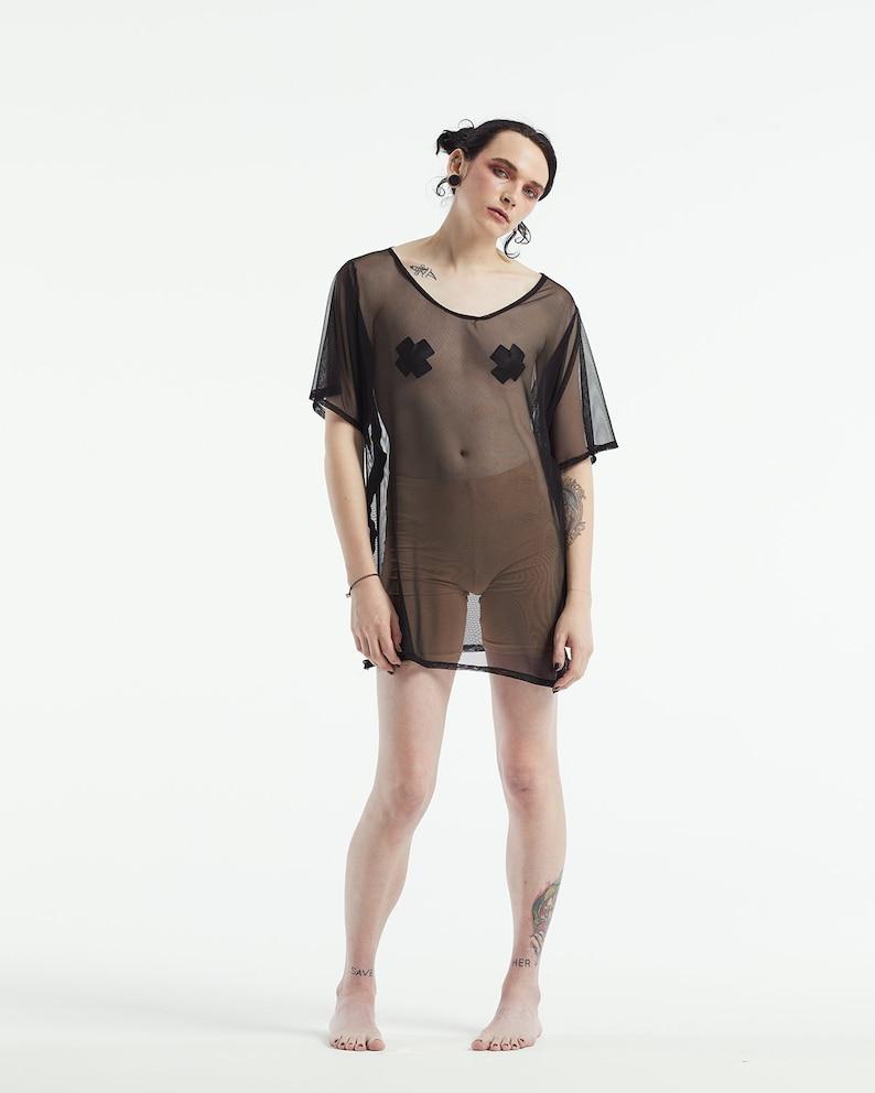 oversized mesh t shirt dress