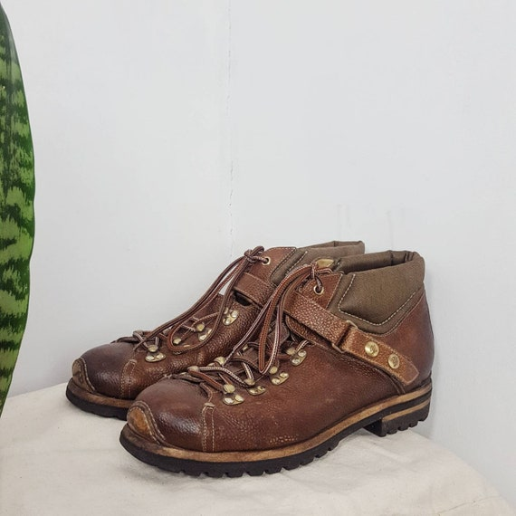 Santoni Men's Leather Hiking Boots Brown Made in I