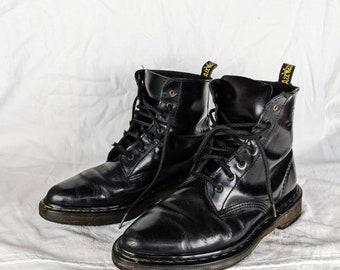 Vintage Dr Martens Leather Boots Made in England Black Platform Cowboy