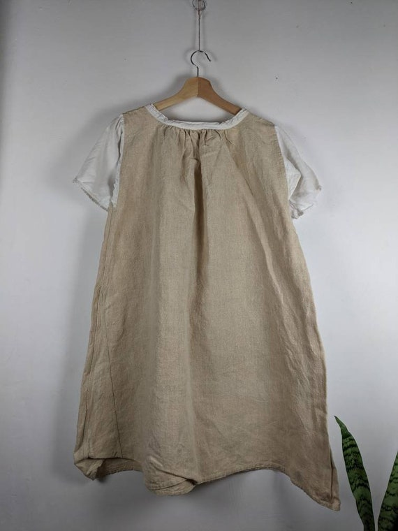 US 20 Vintage French Navy Hemp Linen Slip Dress  with Buttoned Strap /& JM monogram XXL