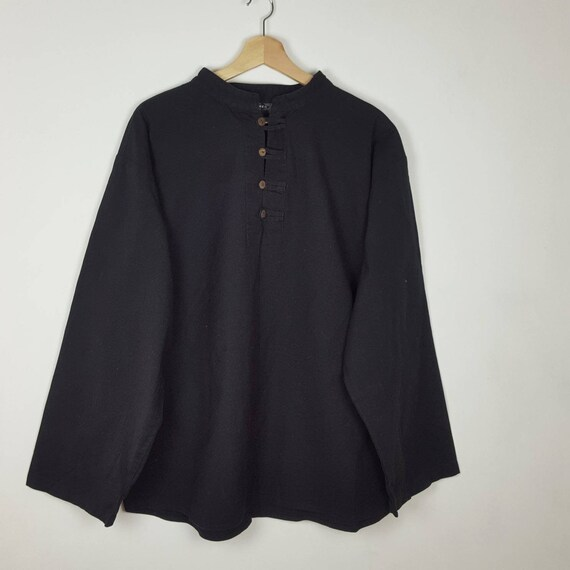Vintage Bares Black Linen Shirt Gothic Steampunk P