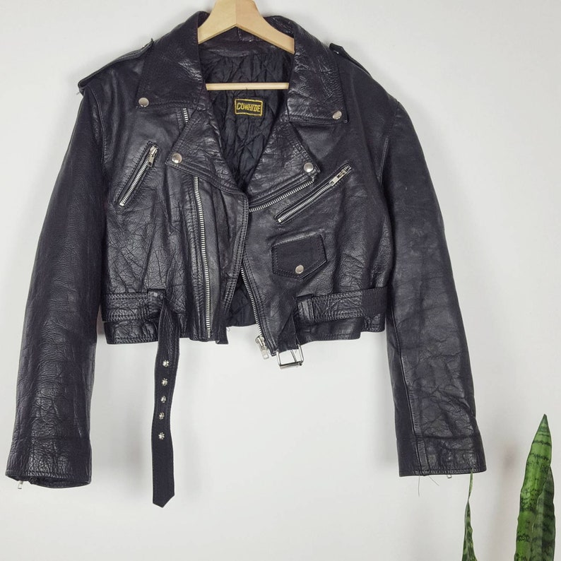 Vintage Leather Motorcycle Women Jacket Black Punk Grunge Retro Cowhide