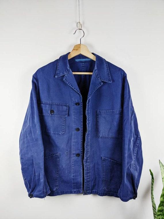 Vintage French Work Jacket Blue European Indigo Sa