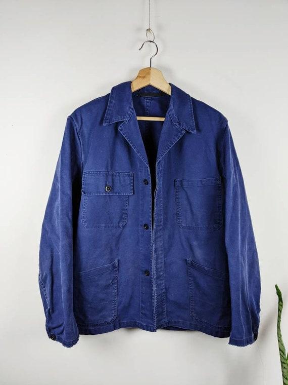 Vintage French Blue Denim Work Jacket Indigo Work