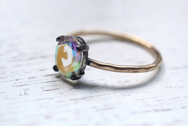 Opalescent Ring Estate Statement Opal Oval Prong Setting 14K Gold Gold-Filled Oxidized Engagement Wedding Promise Ring Solitare Bridal Set