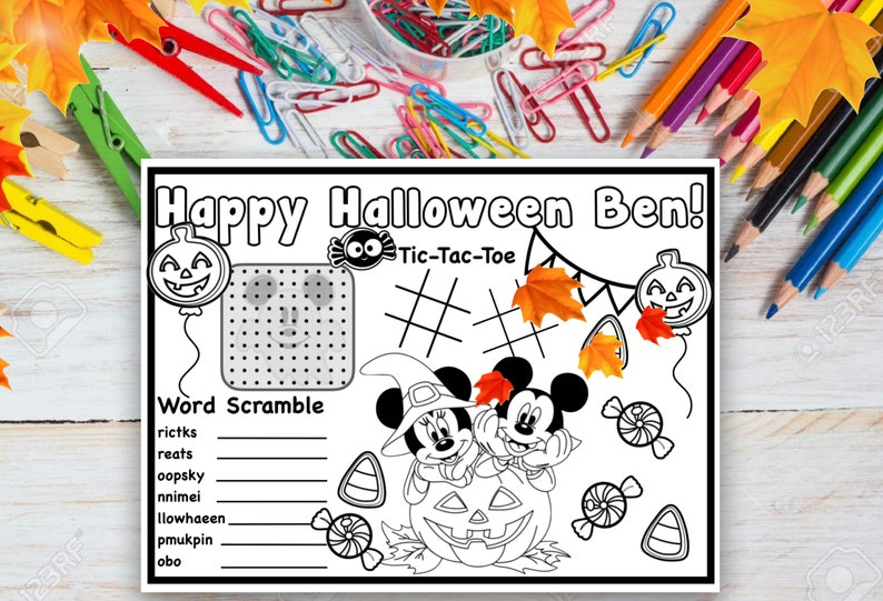 Customized Disney Halloween Coloring Page image 0