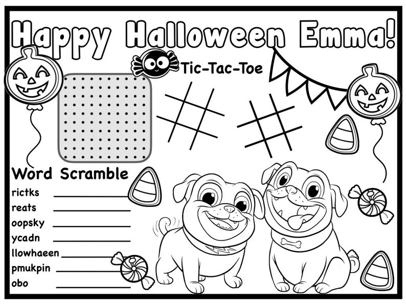 Customized Disney Puppy Dog Pals Halloween Coloring Page ...