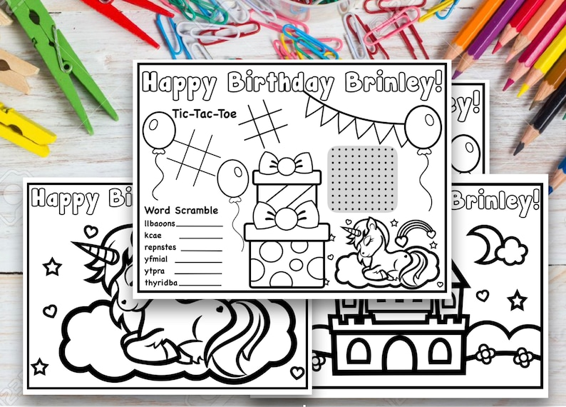 Set of 4 Customized Unicorn Birthday Coloring Pages image 0