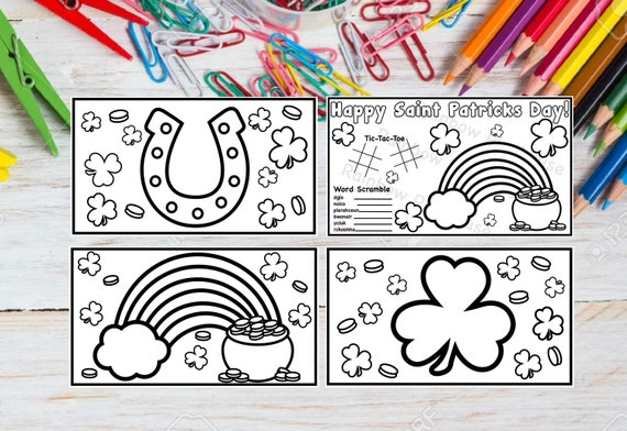 4 Happy Saint Patricks Day Coloring Pages Instant Digital