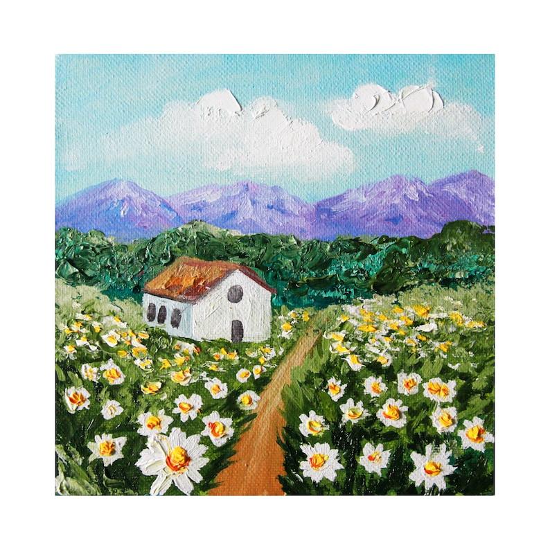 Daisy Painting Original Art Tuscany Painting Italy Landscape Daisy Field Art Impasto Painting Oil On Canvas Artwork 6\u04456/'/' by Valery