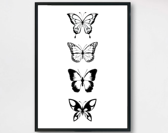 f78204ff2 Butterflies illustration Print, Black and White Print, Decoration Art Print,  Poster butterfly, Wall Art Print, Modern Art Decoration