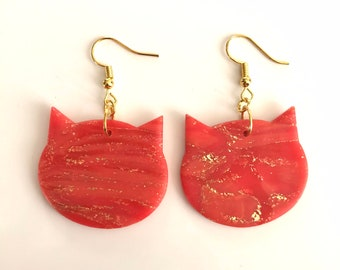 Copper and Gold Earrings Gold Tortoiseshell Cat Earrings Polymer Clay
