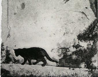 "ORIGINAL ETCHING PRINT aquatint ""Cat Shadow"" wall home decor shabby chic handprint acid-free cotton  ivory white paper black ink artwork"