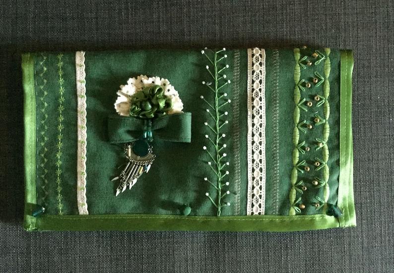 VELVET GREEN CLUTCH handbag handmade  embroidered shabby chic hippie gypsy boho fabric elegant fashionable modern purse bag gift for her