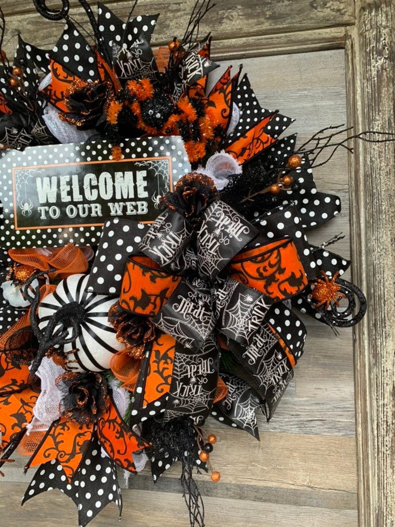 Halloween decor polka dot decor spider decorations fall wreath halloween wreath halloween,