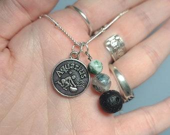 Aquarius Zodiac Themed Charm Necklaces