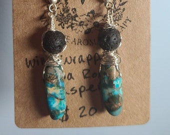 Silver Wire Wrapped Jasper and Lava Rock Earrings