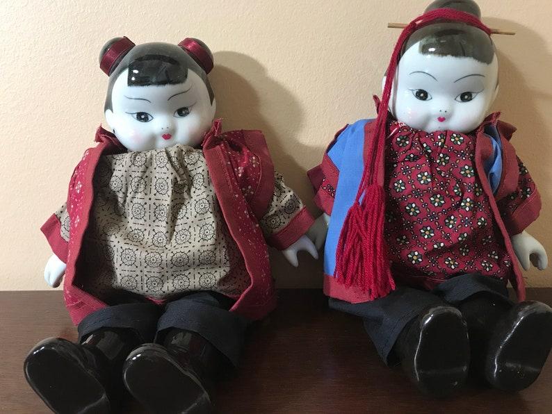 Vintage  Porcelain Chinese Girls /_ 12\u201d