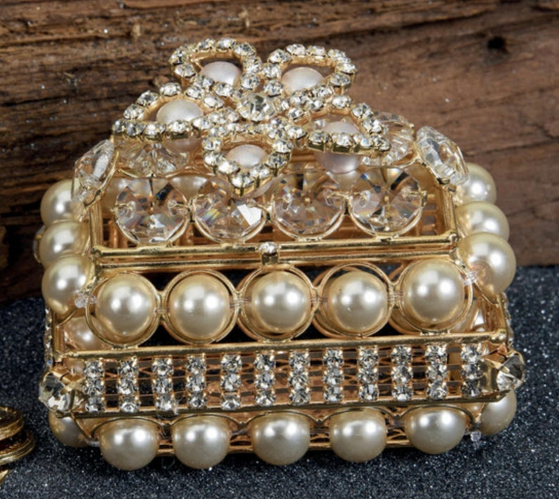 Square Shape Ornate RingArras Box Ring Pillow Ring and Arras Bearer Pillow Rhinestone 37-AC840