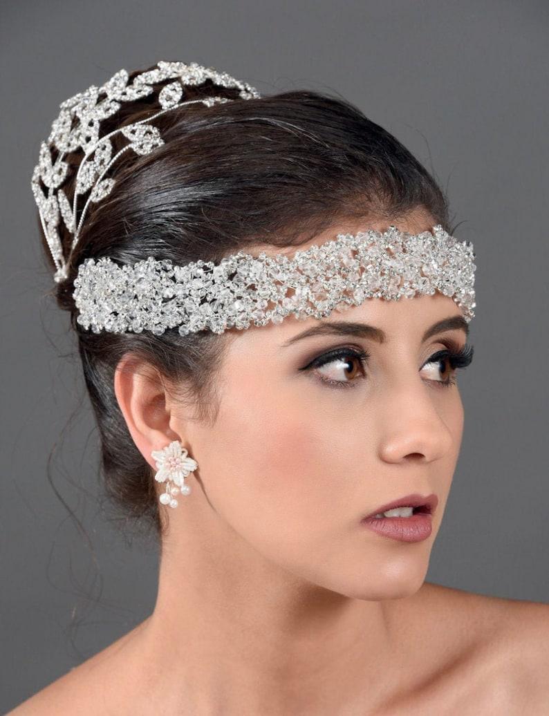 Headpiece Crown Bridal Tiara QuinceaneraBride headpiece Sparkling Tiara 74-T285 Quincea\u00f1era Sweet 16 Tiara Crystal Tiara