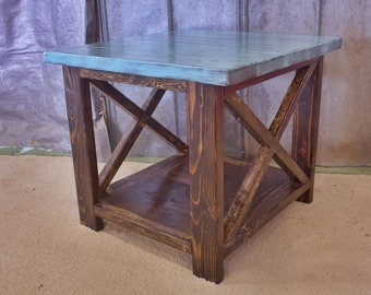 Extra Large End Table Rustic Farmhouse Country Handmade Wood Vintage Aqua