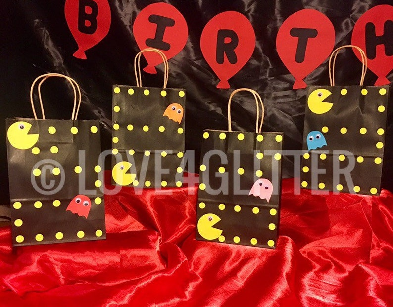 12 PAC-MAN Birthday Party Treat Candy BAGS Supplies Eighties Retro