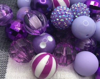 Bubblegum Beads 20mm, Chunky Beads, Bubble Gum Beads, Purple and Lavender Beads
