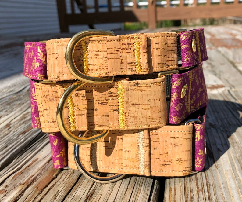 Two toned cork and gold leaves martingale dog collar