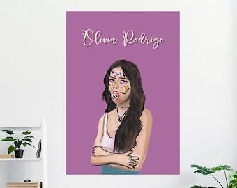 Olivia Rodrigo Poster, Olivia Rodrigo Illustration , Home decor, Printable Art, Digital Download , Decorative Poster